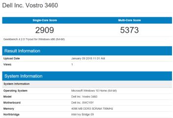 Dell Vostro 3460 - GeekBench CPU