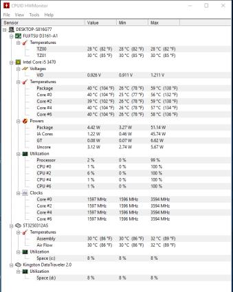 Fujitsu Esprimo P710 - Monitorizare Temperaturi