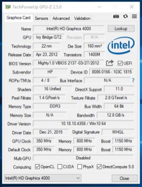HP EliteBook 2170p - GPU-Z Intel HD 4000