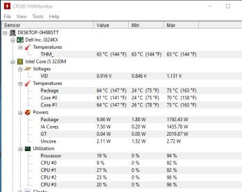 Dell Latitude E5430 - monitorizare temperaturi in timpul testelor