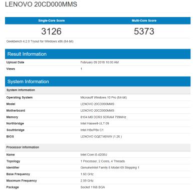 Lenovo ThinkPad S1 Yoga - Geekbench