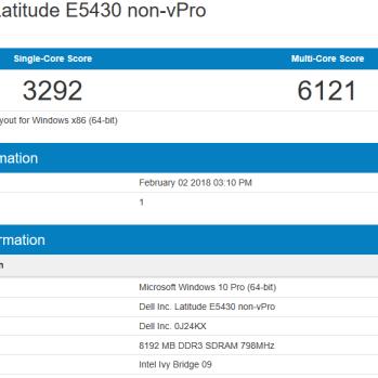 Dell Latitude E5430 - Geekbench CPU