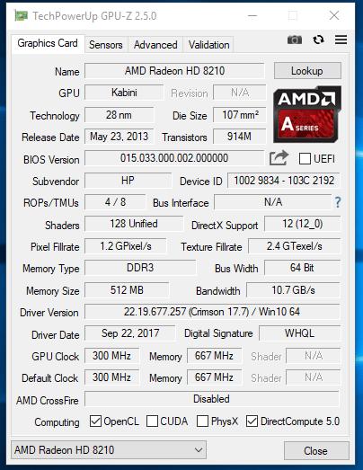 HP 255 G2 - GPU-z