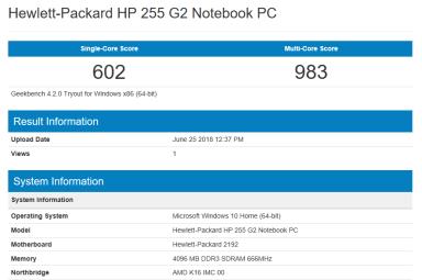 HP 255 G2 - GeekBench CPU