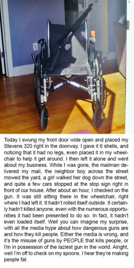 Today I swung my front door wide open and placed my Stevens 320 right in the doorway. I gave it 6 shells, and noticing that it had no legs, even placed it in my wheelchair to help it get around. While I was gone, the mailman delivered my mail, the neighbor boy across the street mowed the yard, a girl walked her dog down the street, and quite a few cars stopped at the stop sign right in front of our house where we got our <a href=