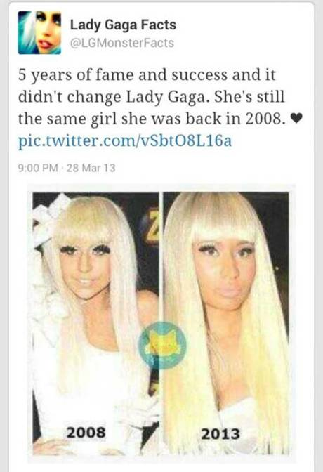 """Lady Gaga Facts @LGMonsterFacts: """"5 years of fame and success didn't change Lady Gaga. She's still the same girl she was back in 2008. <3 http://pic.twitter.com/vSbtO8L16a"""""""
