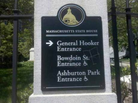 Massachusetts State House: - General Hooker Entrance  - Bowdoin St. Entrance  - Ashburton Park Entrance