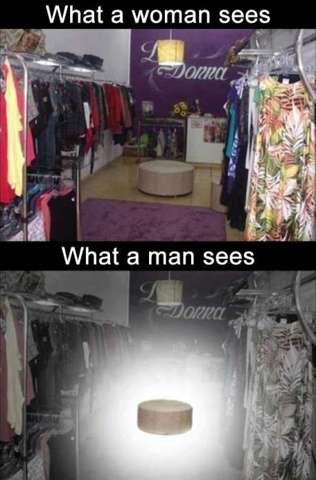 """What a woman sees: """"Clothes""""  What a man sees: """"Seat"""""""