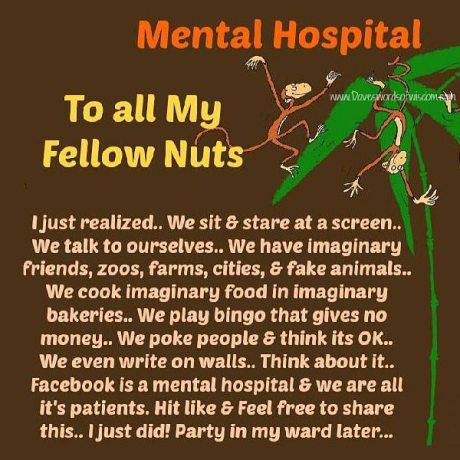 Mental Hospital - To All My Fellow Nuts: I just realized... We sit & stare at a screen.. We talk to ourselves.. We have imaginary friends, zoos, farms, cities & fake animals.. We cook imaginary food in imaginary bakeries.. We play bingo that gives no money.. We poke people & think it's OK.. We even write on walls.. Think about it.. Facebook is a mental hospital & we are all its patients. Hit like and feel free to share this.. I just did! Party in my ward later...