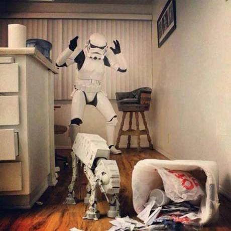 AT-AT Knocks Over Trash in Front of Stormtrooper
