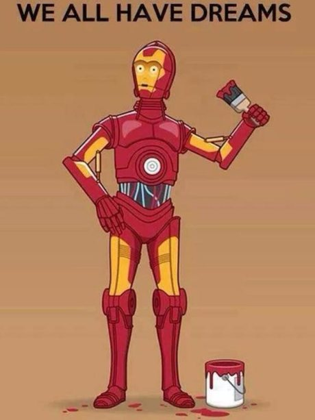 "C3P0 with Iron Man Paint Job: ""We All Have Dreams"""