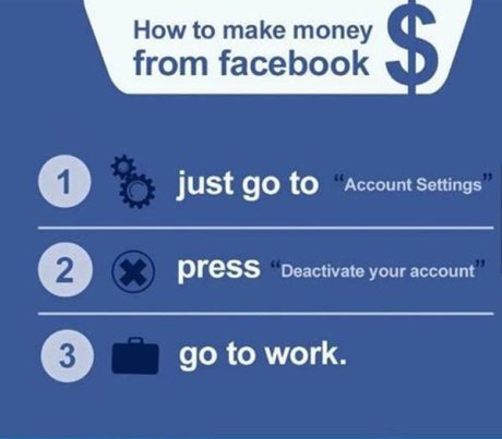 "How to Make Money from Facebook.  1. just go to ""Account Settings.""  2. press ""Deactivate my account.""  3. go to work"