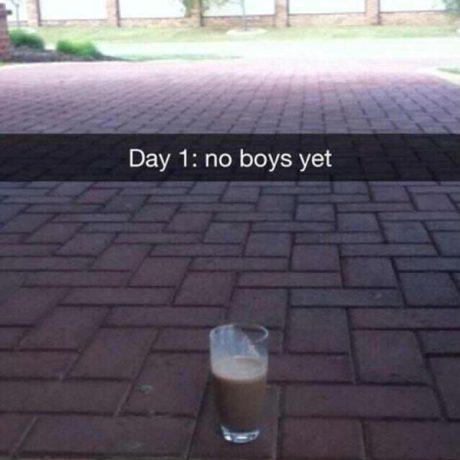 Milkshake Day 1: No boys yet.