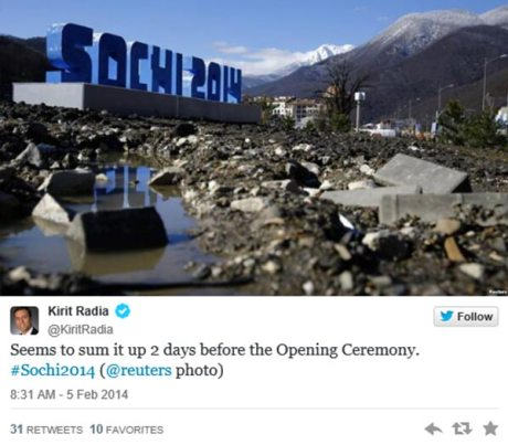 "Twitter @KiritRadia: ""Seems to sum it up 2 days before the Opening Ceremony. #Sochi2013 (@reuters photo)""  Pic: Construction Debris in front of Sochi 2014 Sign"