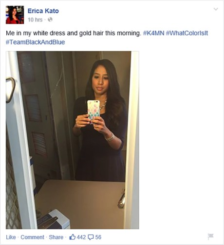 "KRON-TV 4 Erica Kato: ""Me in my white dress and gold hair this morning. #K4MN #WhatColorIsIt #TeamBlackAndBlue"""