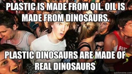 Plastic is made from oil.  Oil is made from Dinosaurs. Plastic Dinosaurs are made from real dinosaurs.