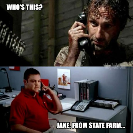 """The Walking Dead's Rick Grimes: """"Who's This?"""" Caller: """"Jake, from State Farm..."""""""