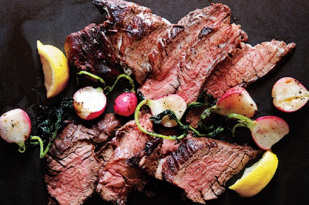 GRILLED STEAK AND RADISHES WITH BLACK PEPPER BUTTER Photo: Epicurious, Hirsheimer & Hamilton