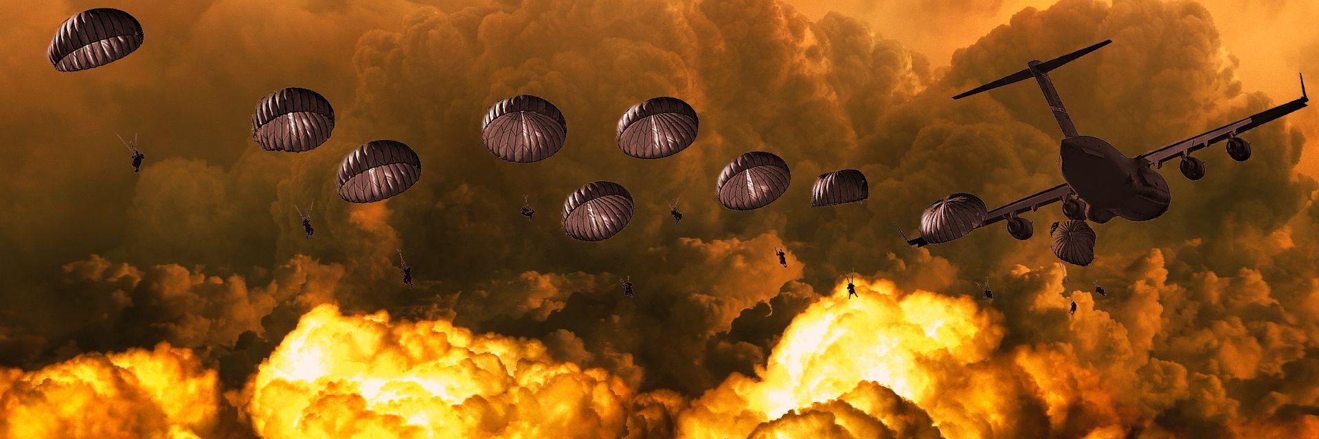 Wojskowi spadochroniarze nad terenem eksplozji - kolaż
