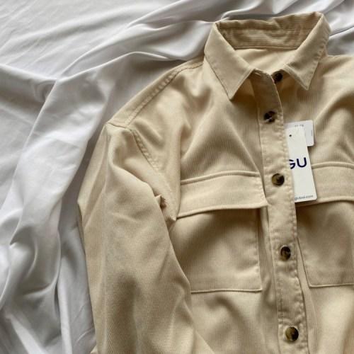 コーデュロイベルテッドオーバーサイズシャツ
