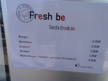 fresh be burger foodtruck tarifs