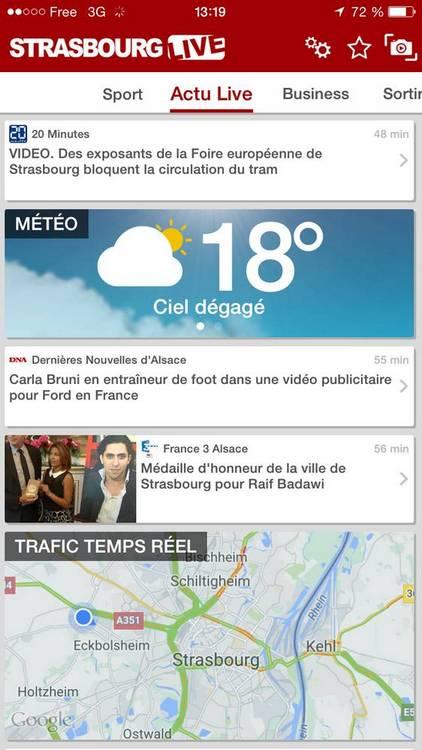 applis mobile strasbourg TCHAPP STRASTV DNA STRASBOURG LIVE