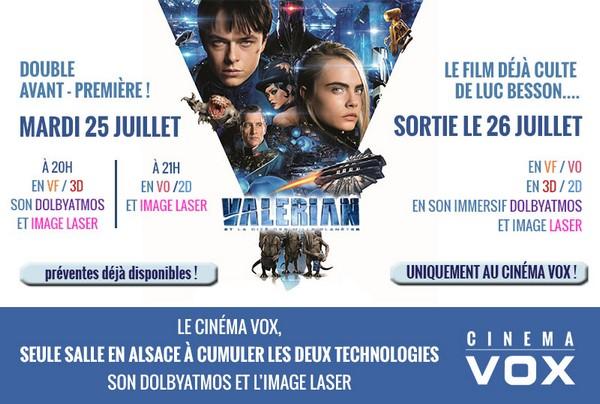 Valérian et la Cité des milles planètes cinéma VOX Strasbourg jeu concours BESSON