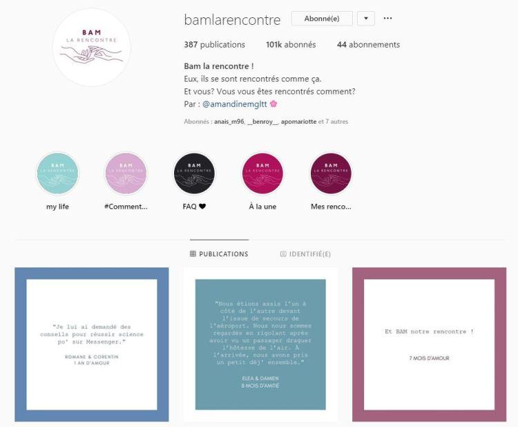 capture d'écran du compte instagram Bam la rencontre