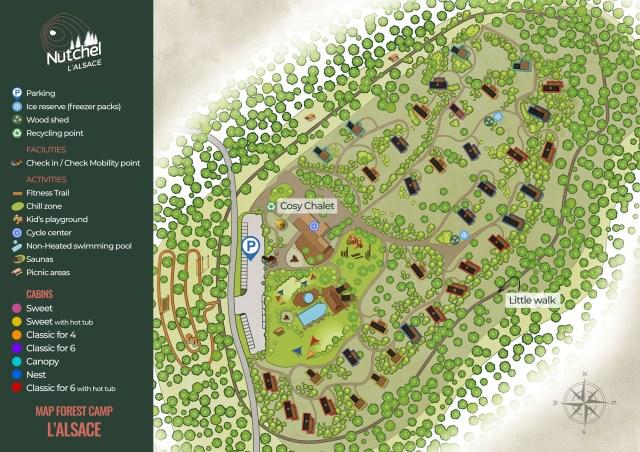 Nutchel cosy cabanes Ardennes Alsace plan