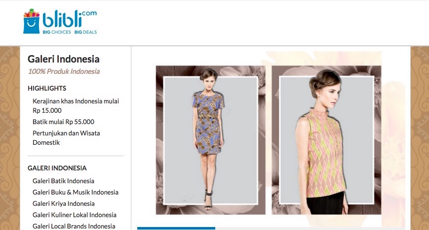 toko online galeri indonesia 100 persen indonesia blibli