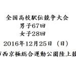 全国高校駅伝競争大会が開催されます 2016年12月25日(日)