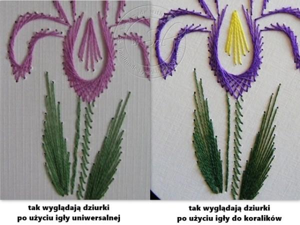 porównanie haftów wykonanych różnymi igłami