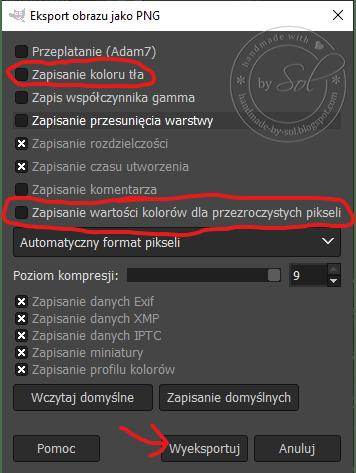 opcje eksportu do formatu .png