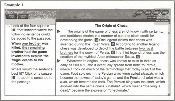 TOEFL 文章挿入問題例