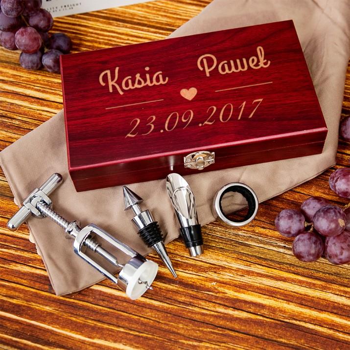 ślub nasza data zestaw do wina