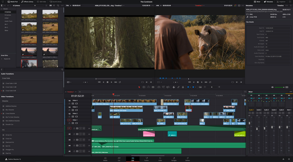 Layout Davinci Resolve - aplicatie gratuita editare video