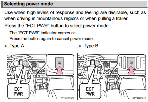 Benefits of the Toyota Taa ECT PWR Button