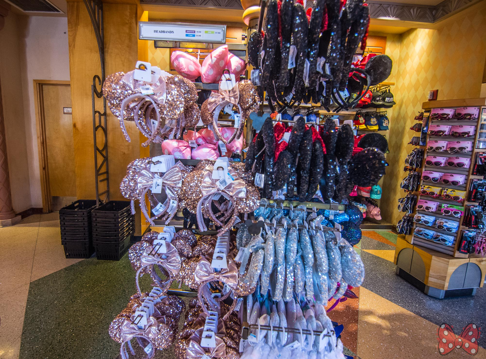 Disney Parks Minnie Rose Gold Ears with Bow Ears Headband