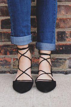 jeans escuro lace up preta