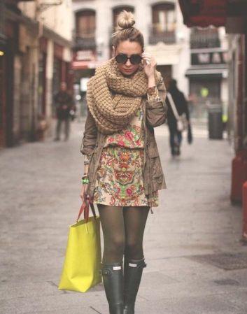 parka com vestido estampado floral