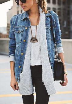 Cardigan feminino com jaqueta jeans