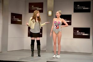 Miley Cyrus and Vanessa Bayer in Opening Monologue