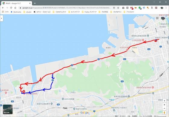 新居浜市役所から西条市のラムーまでのルート。(Google MAP)