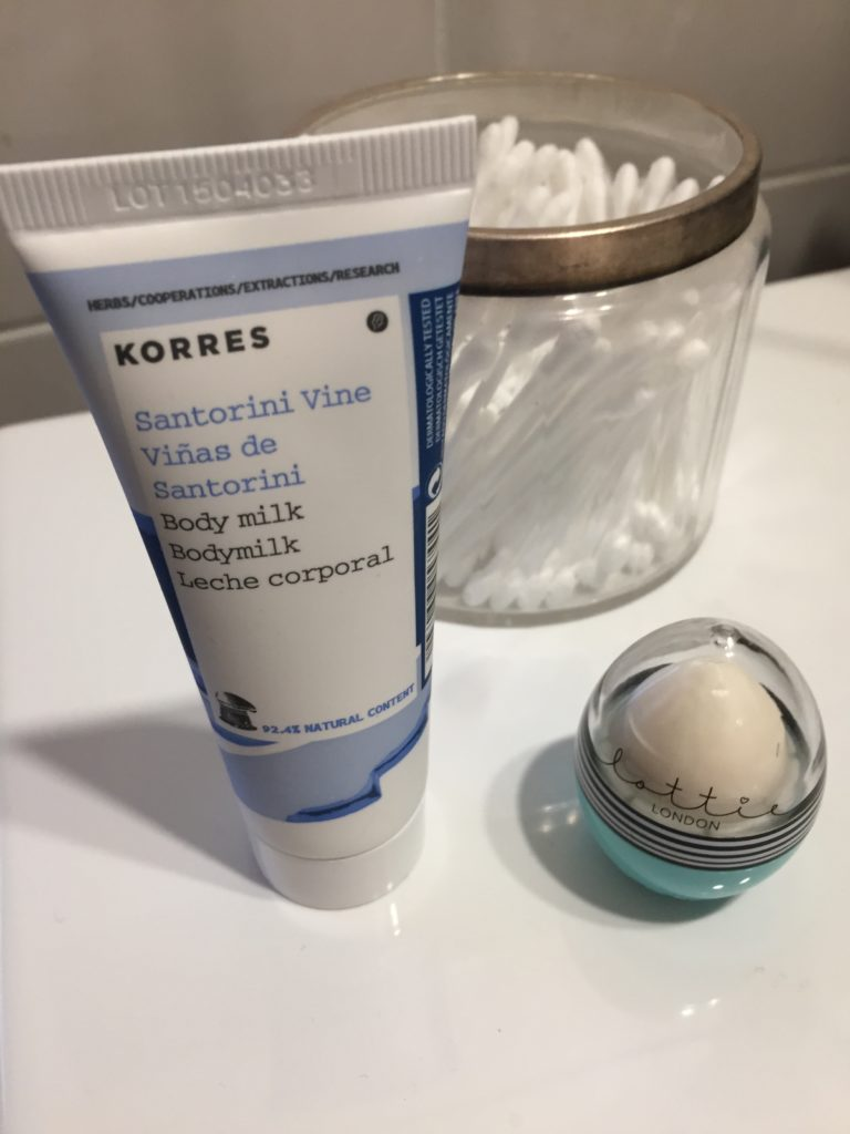 Korres Santorini botanical vine and Lottie London balm