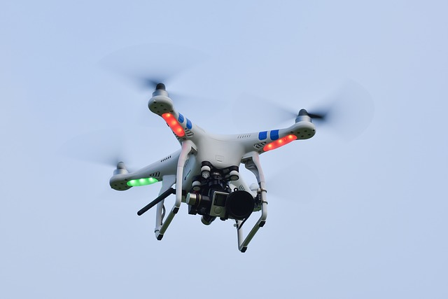 Drone in sky with coloured lights