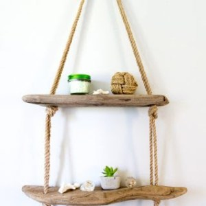 Driftwood shelves with rope