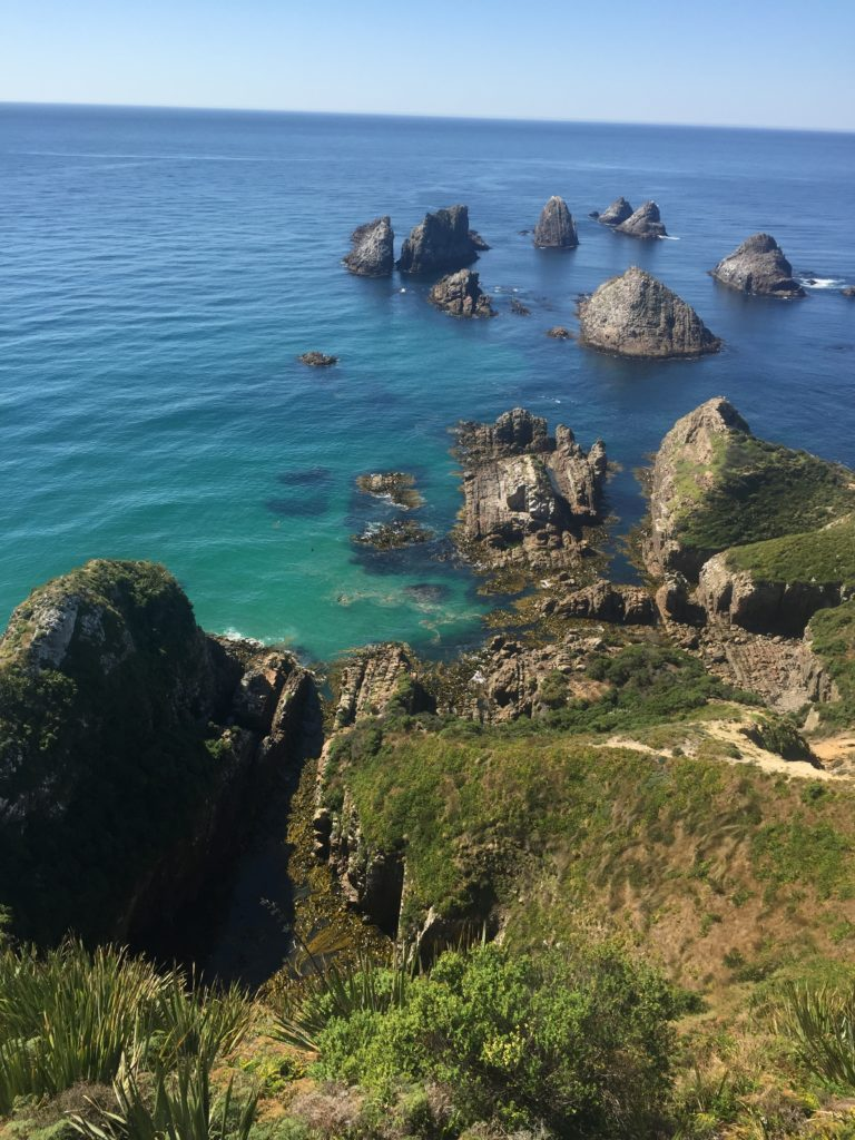 Nugget point view of rocks in the sea