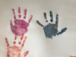 colourful hand prints x 3