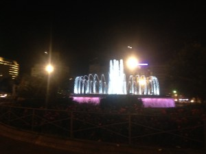 A fountain lit up Barcelona city