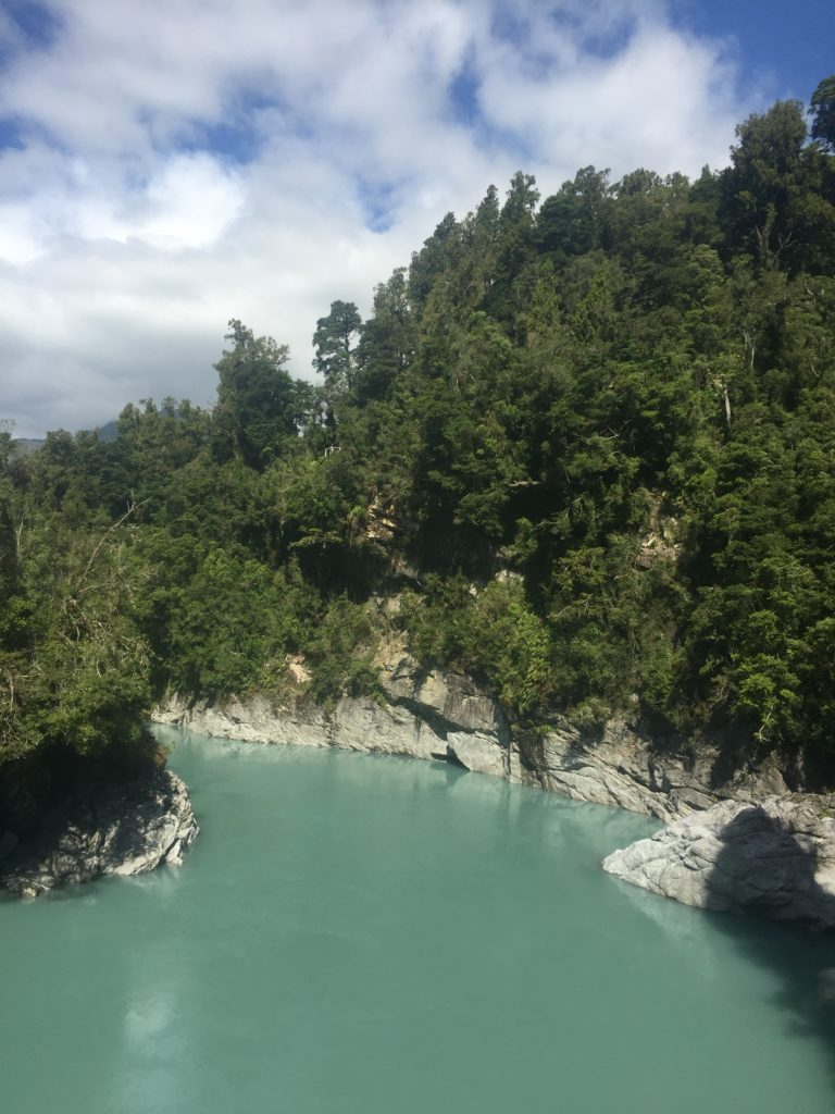 pastel blue water at hokitika gorge